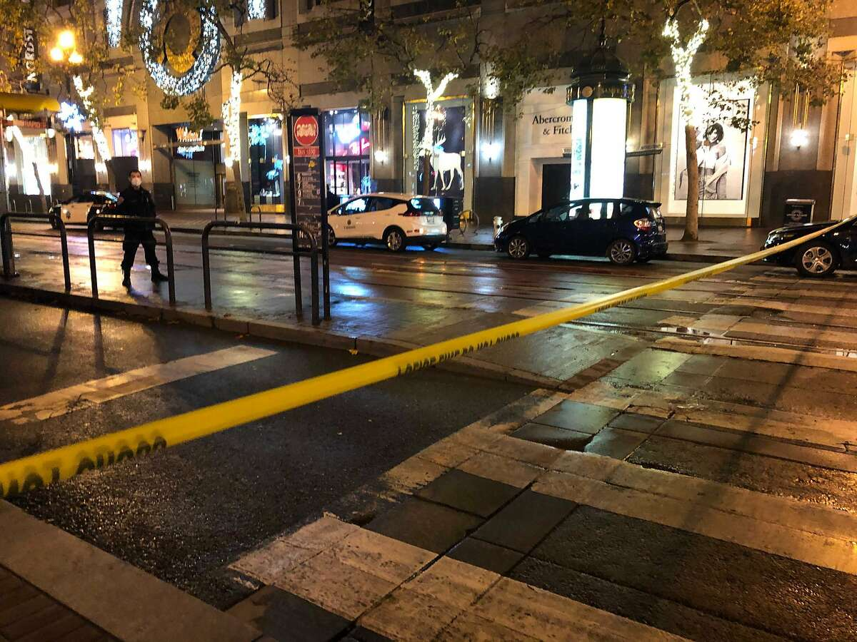 Market Street in San Francisco was taped off from 4th to 5th streets after a San Francisco police shooting on Tuesday, Nov. 17, 2020.