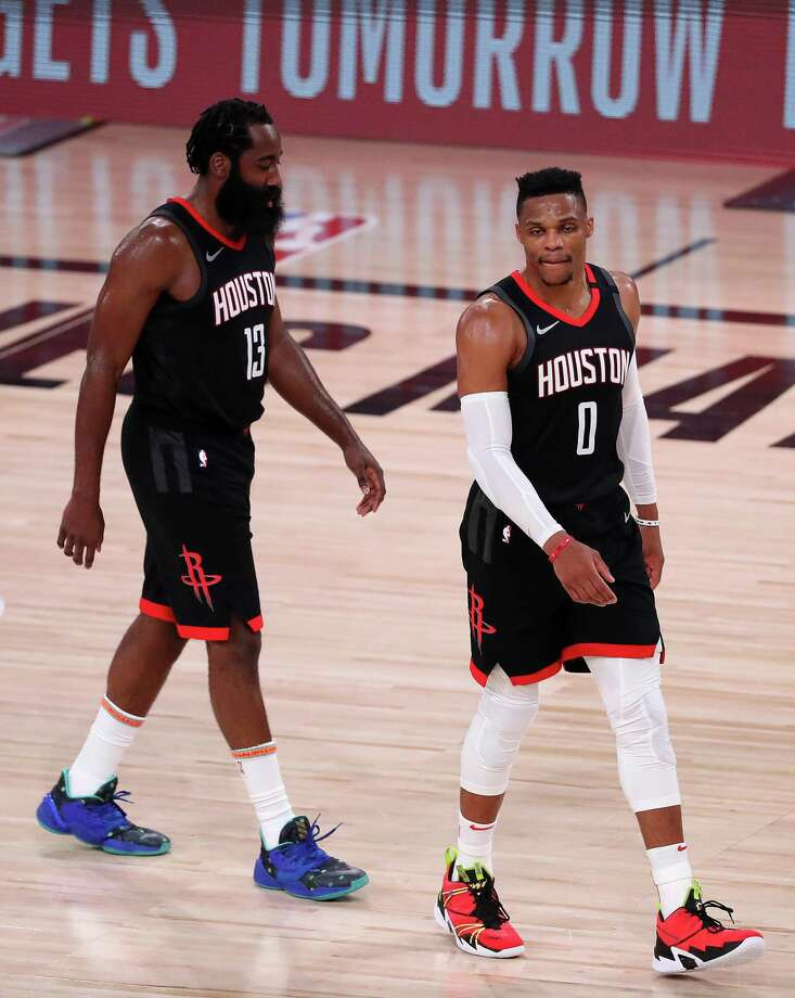 The future of the franchise will be shaped this week as the Rockets decide whether to keep James Harden and Russell Westbrook or to trade one or both of them. Photo: Michael Reaves /Getty Images / Getty Images North America