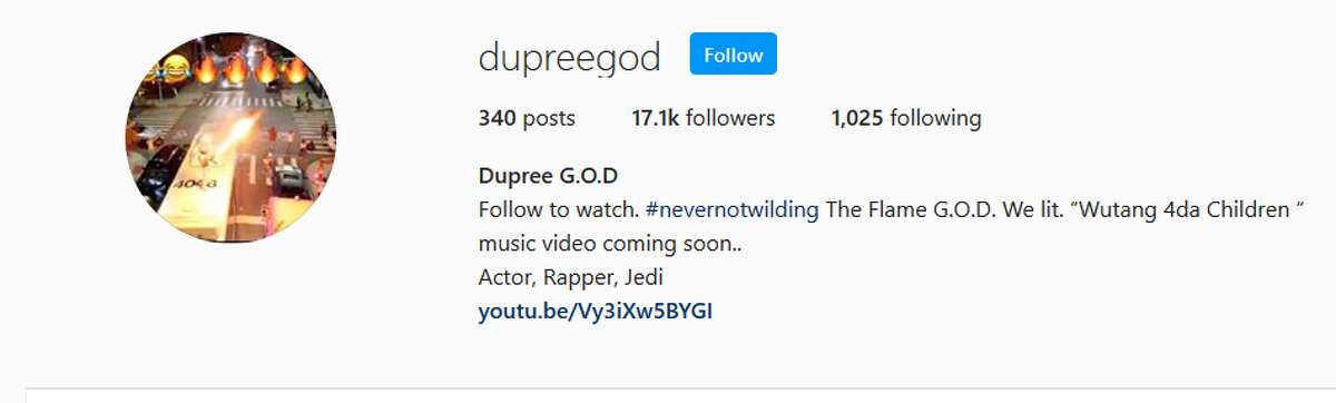 Dupree G.O.DFollow to watch. #nevernotwilding The Flame G.O.D. We lit.