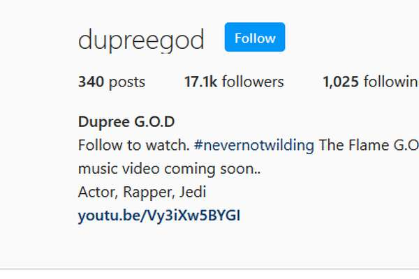 "Dupree G.O.DFollow to watch. #nevernotwilding The Flame G.O.D. We lit. ""Wutang 4da Children "" music video coming soon..Actor, Rapper, Jedi"