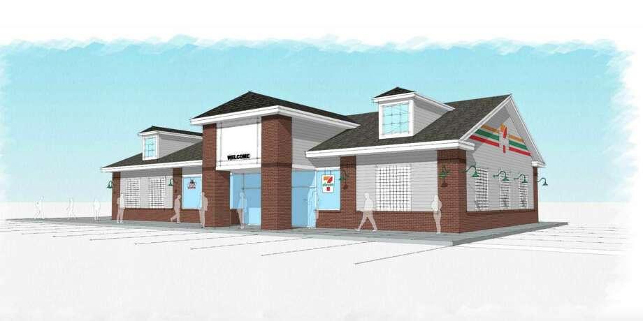 A rendering of the proposed new 7-Eleven convenience, restaurant and gas station on the Post Road. Photo: Darienct.gov