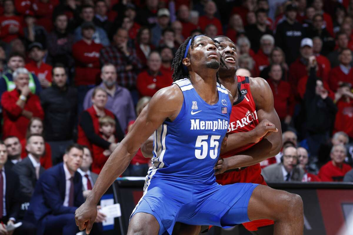 CINCINNATI, OH - FEBRUARY 13: Precious Achiuwa #55 of the Memphis Tigers blocks out during a game against the Cincinnati Bearcats at Fifth Third Arena on February 13, 2020 in Cincinnati, Ohio. Cincinnati defeated Memphis 92-86 in overtime. (Photo by Joe Robbins/Getty Images)