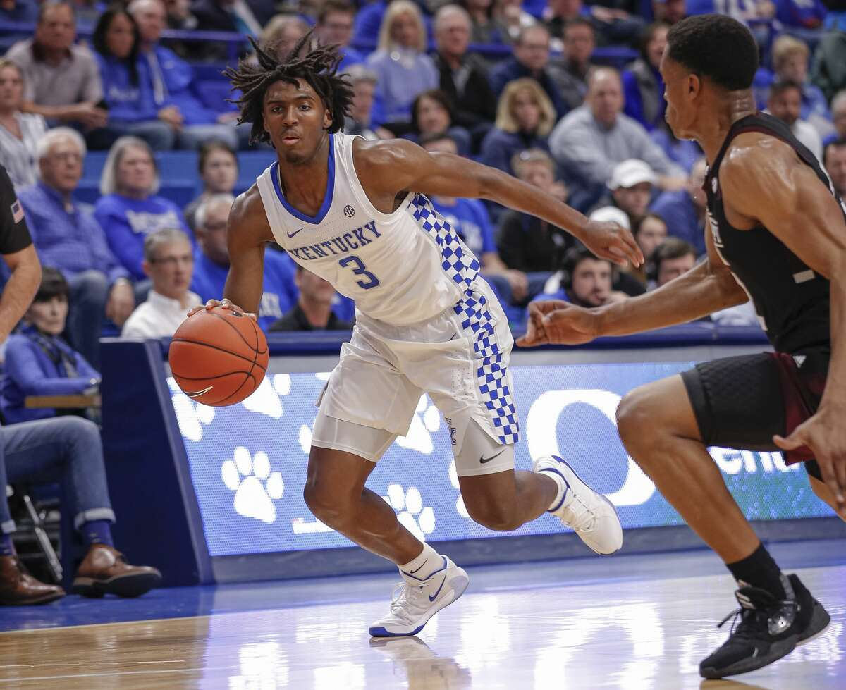 LEXINGTON, KY - FEBRUARY 04: Tyrese Maxey #3 of the Kentucky Wildcats dribbles the ball during the game against the Mississippi State Bulldogs at Rupp Arena on February 4, 2020 in Lexington, Kentucky. (Photo by Michael Hickey/Getty Images)