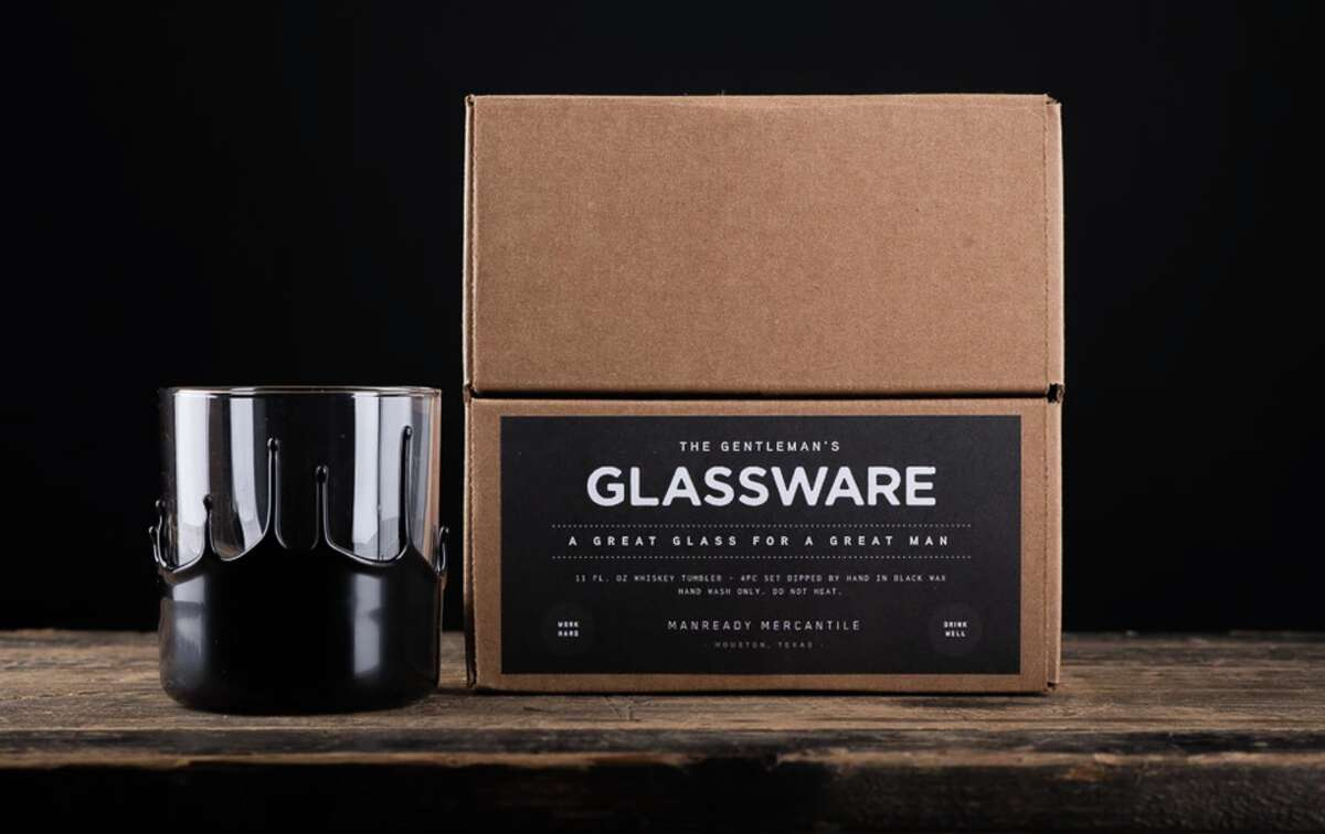 For the whiskey enthusiast: Houston and Austin manufacturer Manready Mercantile haswax-dipped whiskey glasses in a few different colors. The stylish tumblers are handmade and sold in sets of four.
