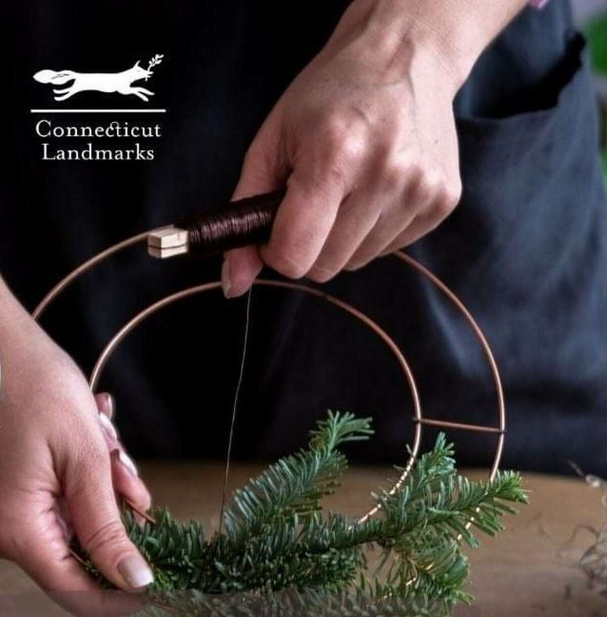 Connecticut Landmarks is leading a wreath-making workshop in a Zoom session.