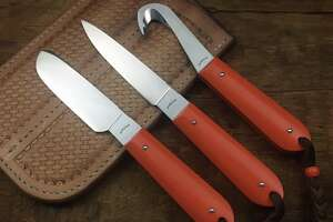For the hunter:    This three-piece custom knife set, which includes a gut hook and skinner, can be ordered from Houstonian Jonathan McKenzie. He specializes in specialty knives and has some great barsets on offer on his  site now .