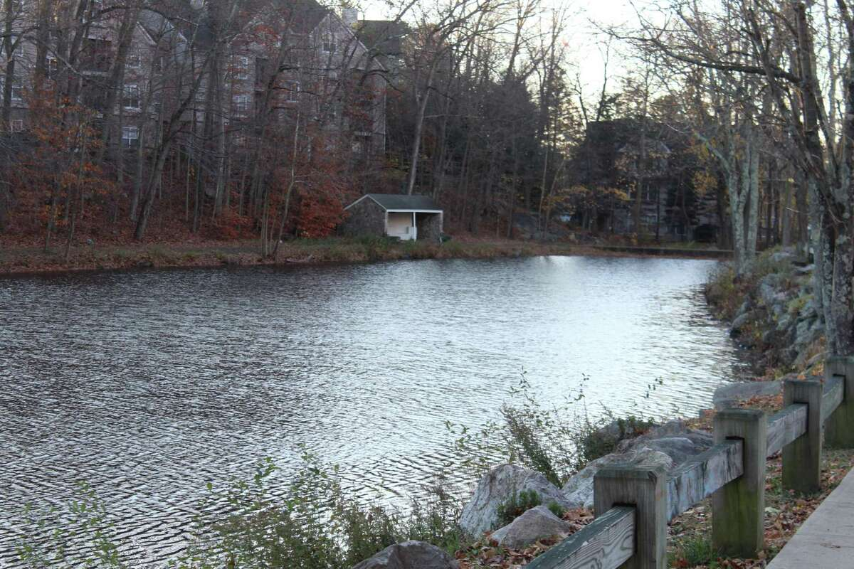 The warming hut once used when Mill Pond in New Canaan was a destination for ice skating sits alone on a chilly November morning. Soon residents won't have to wait for ponds to freeze in order to skate, as the town now has an outdoor ice rink to set up once a site is chosen.