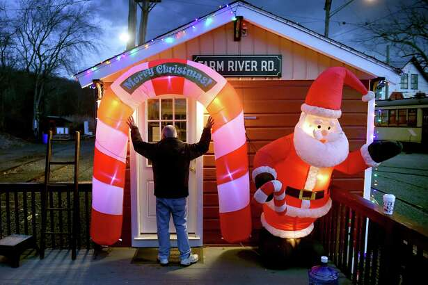 John Proto, director of the Shoreline Trolley Museum, prepares a holiday event in 2016.