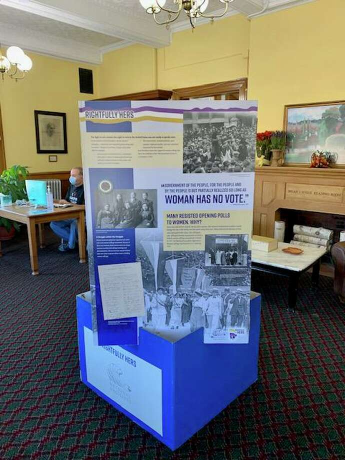 """Connecticut State Grange and Riverton Grange #169 recently donated a National Archives' """"Rightfully Hers: American Women and the Vote"""" Pop Up display to Beardsley and Memorial Library for viewing by the public. Photo: Contributed Photo"""