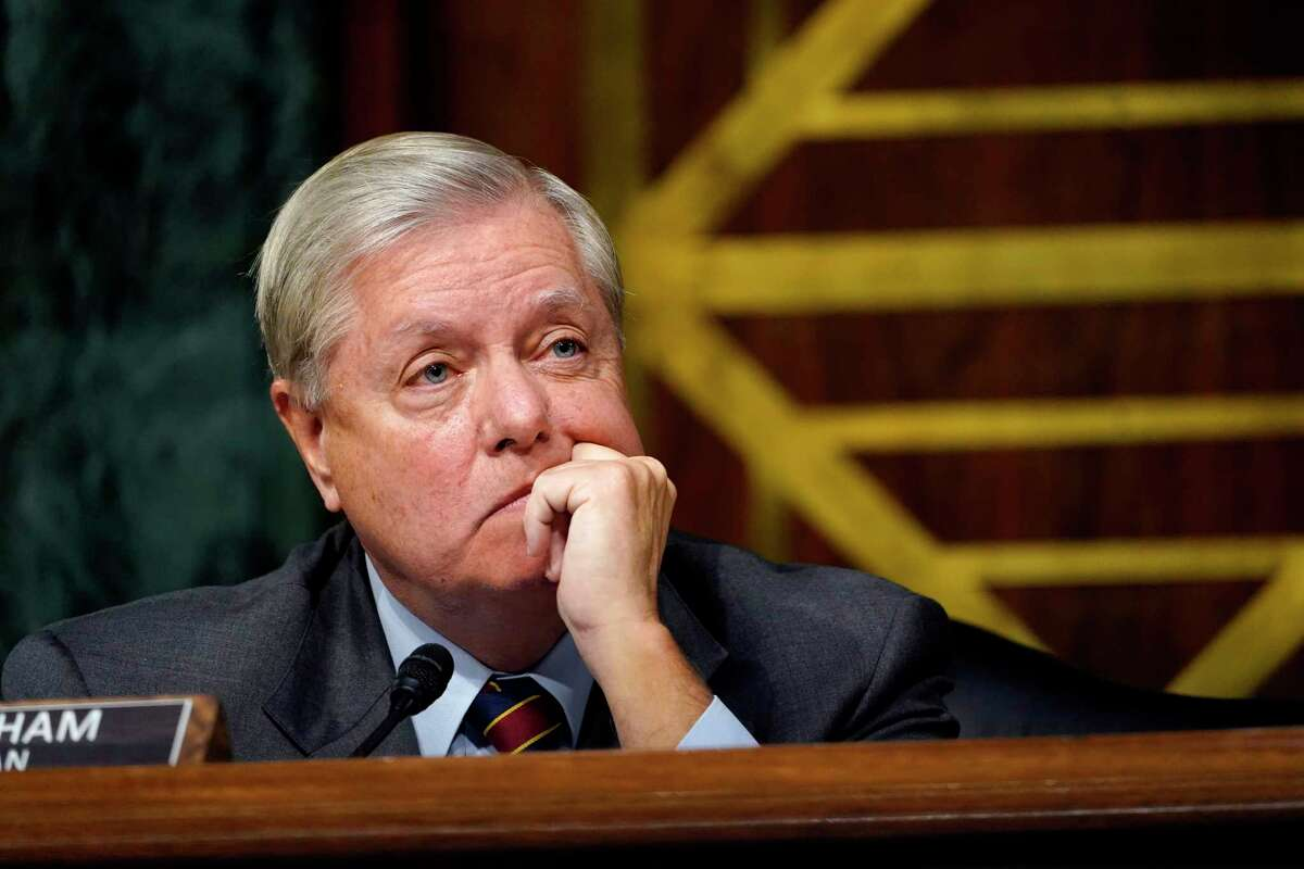 Sen. Lindsey Graham, R-S.C., listens during a Senate Judiciary Committee hearing on Capitol Hill in Washington, Tuesday, Nov. 10, 2020, on a probe of the FBI's Russia investigation.