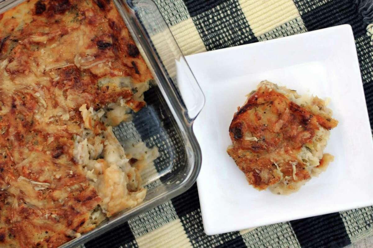 Cheese and Caramelized Onion Mashed Potato Bake