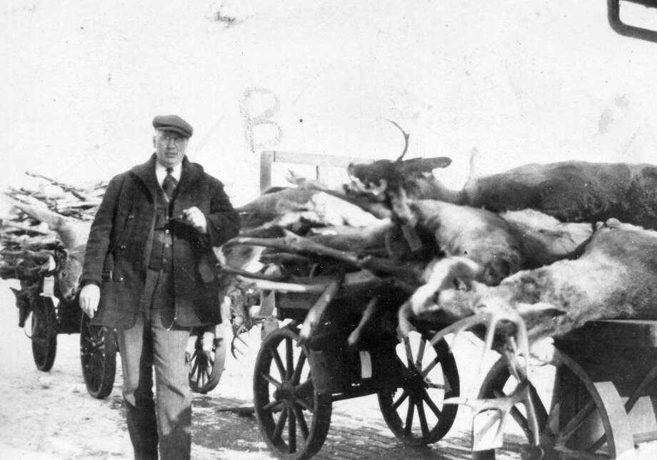 Deer season was always a busy time for George Weaver, butcher and owner of Weaver's Meat Market in Honor. These railway carts of deer were probably retrieved from the Honor depot, shipped back by successful hunters. (Courtesy Photo)