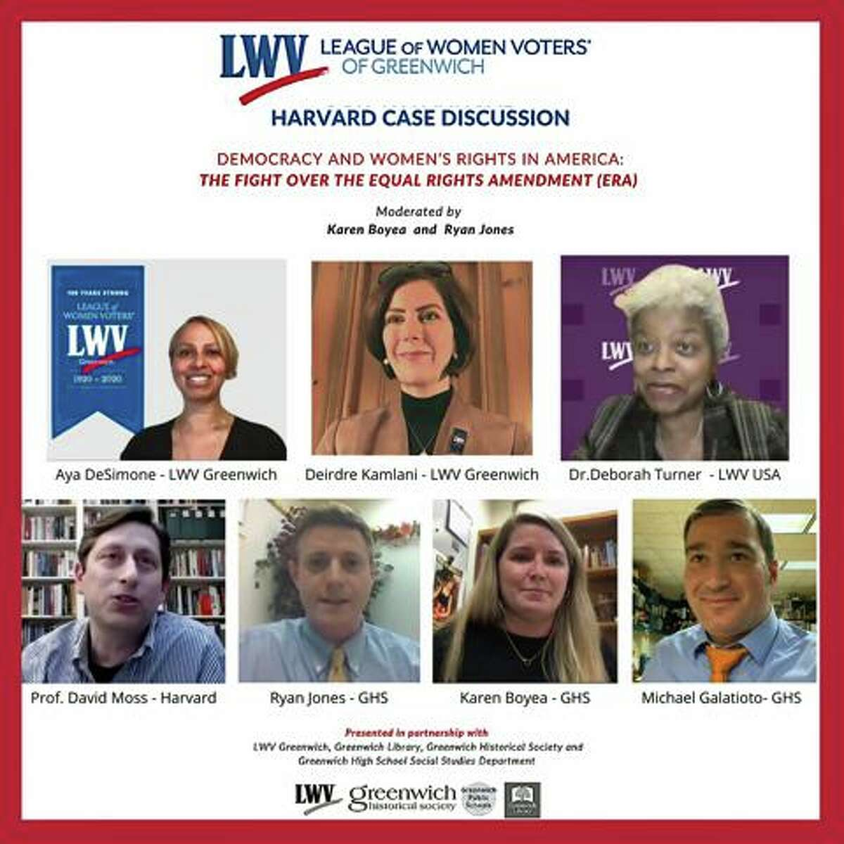 Representatives from Greenwich High School, Harvard University and the Greenwich League of Women Voters (LWV) took part in a virtual discussion Nov. 10 on women's suffrage.