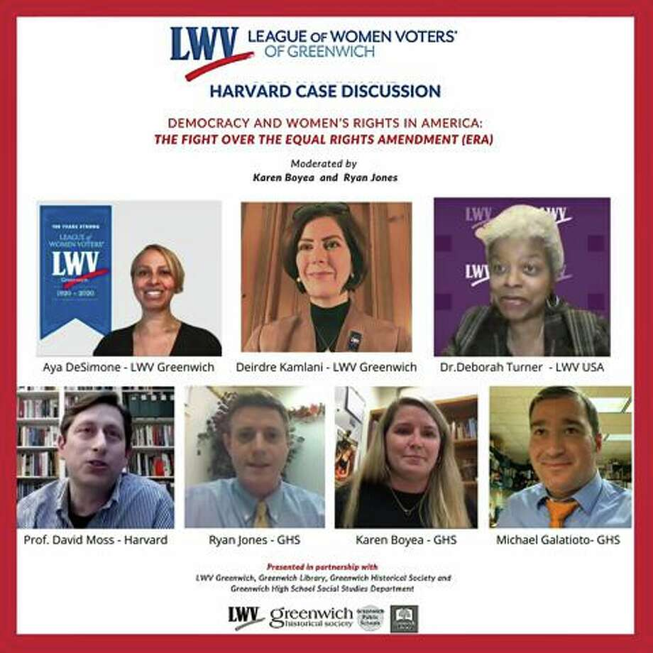 Representatives from Greenwich High School, Harvard University and the Greenwich League of Women Voters (LWV) took part in a virtual discussion Nov. 10 on women's suffrage. Photo: Contributed