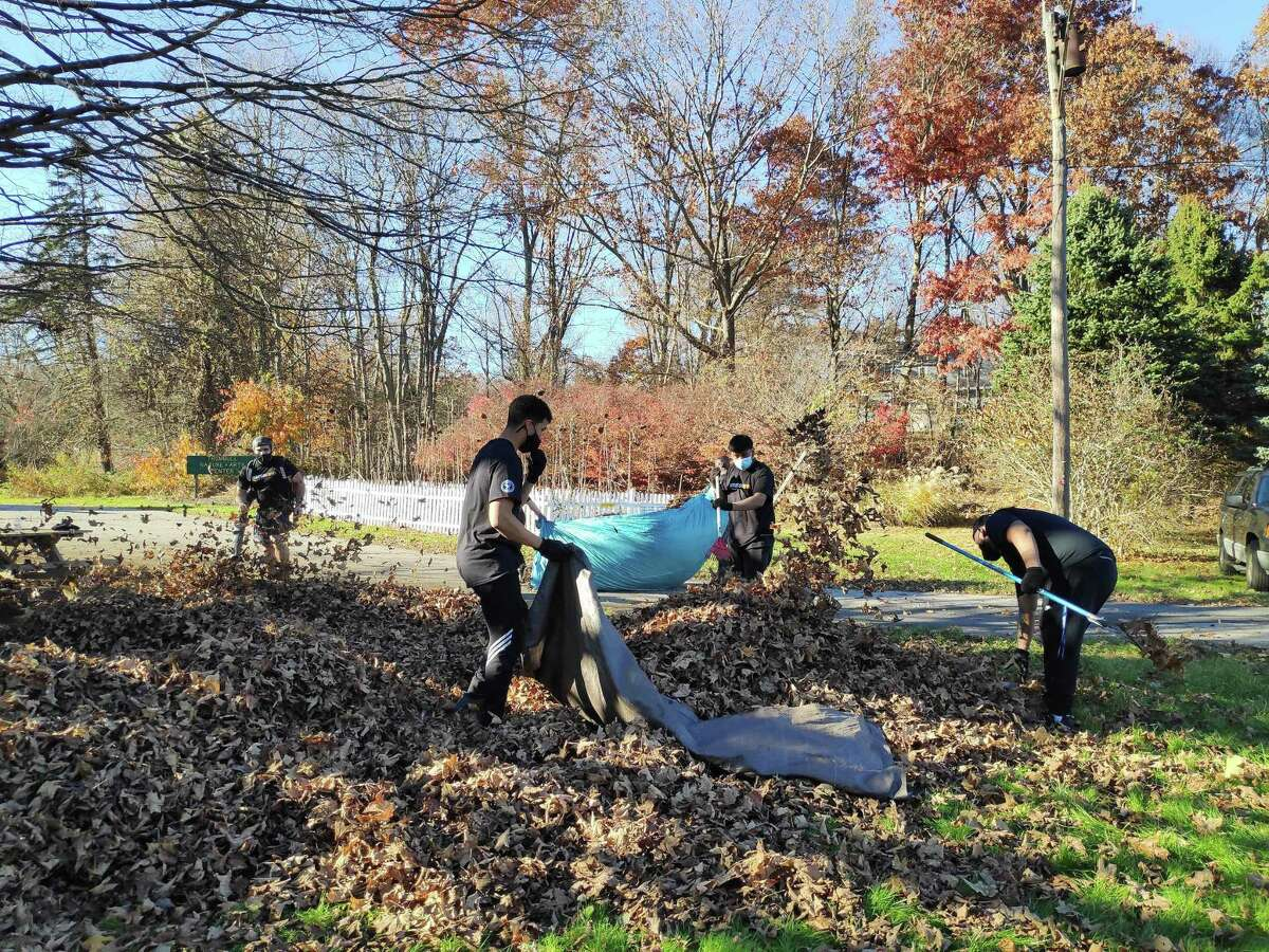 Recently, employees of the Amazon Trumbull Distribution Center volunteered at the Trumbull Nature & Arts Center (TNAC), located across the street from their facility at 7115 Main St. The group raked and blew leaves from under the large maple tree in front of the TNAC building and cut down the sunflowers for the season to help prepare the grounds for the winter season.