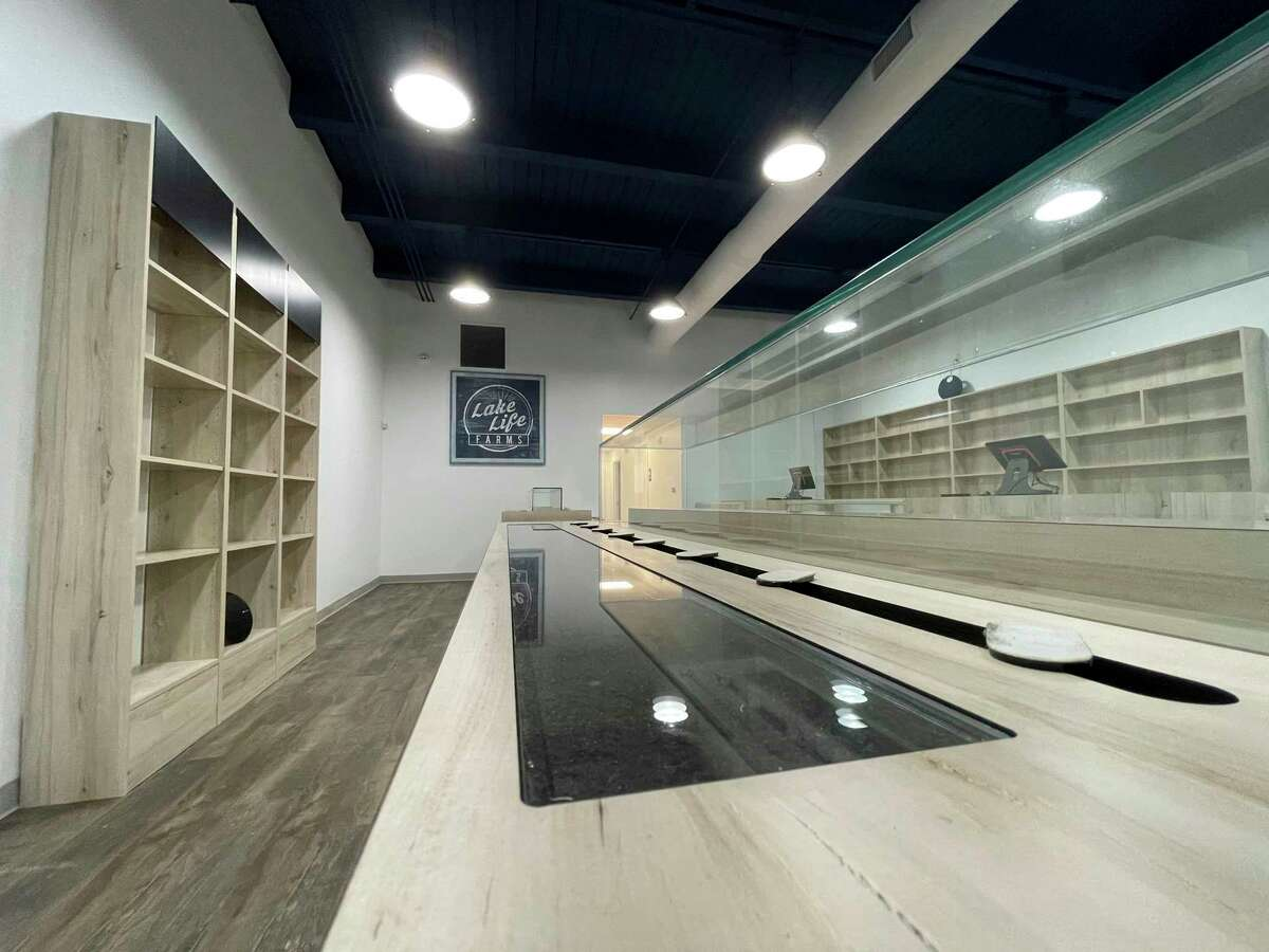 This image shows a display rack in Lake Life Farms that will soon display medical marijuana products. The new shop in downtown Big Rapids is expected to open by the end of the month with plans to open adult-use shortly after. (Pioneer photo/Bradley Massman)