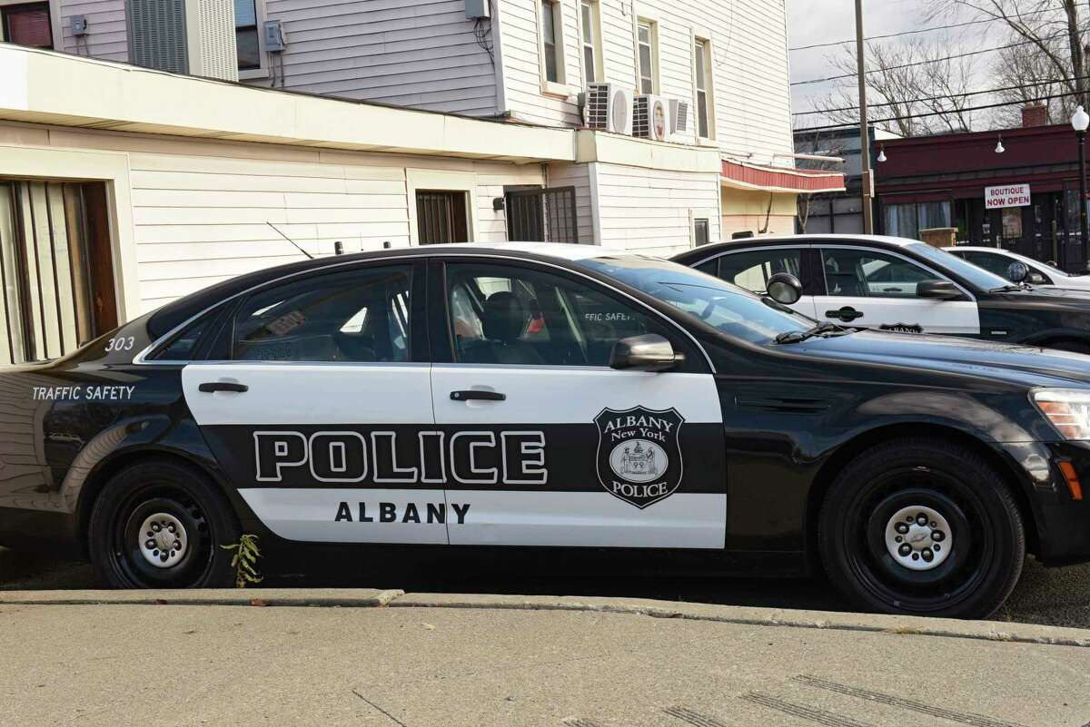 Police patrol cars are seen in a parking lot at Albany police headquarters on Henry Johnson Blvd. on Wednesday, Nov. 18, 2020 in Albany, N.Y. (Lori Van Buren/Times Union)