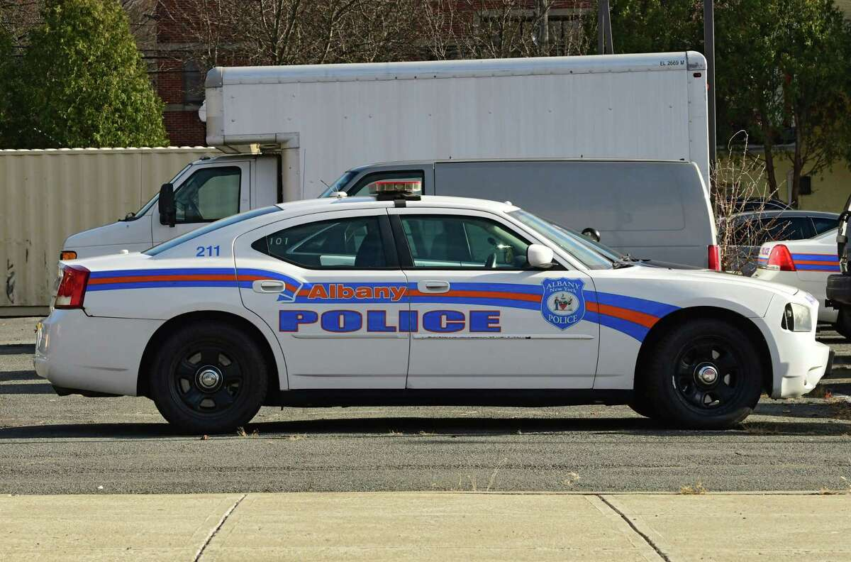A police patrol car is seen in a parking lot at Albany police headquarters on Henry Johnson Blvd. on Wednesday, Nov. 18, 2020 in Albany, N.Y. (Lori Van Buren/Times Union)