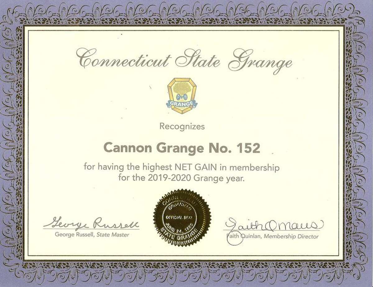 Cannon Grange No. 152 in Wilton was honored by the CT State Grange for having the highest net gain in membership for 2019-20.