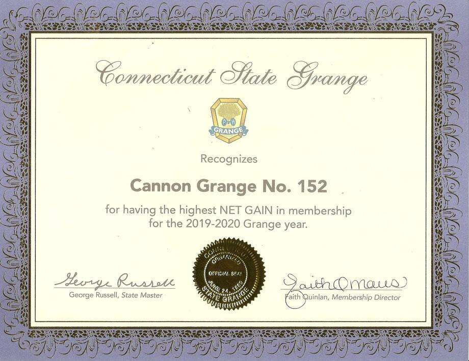 Cannon Grange No. 152 in Wilton was honored by the CT State Grange for having the highest net gain in membership for 2019-20. Photo: CT State Grange