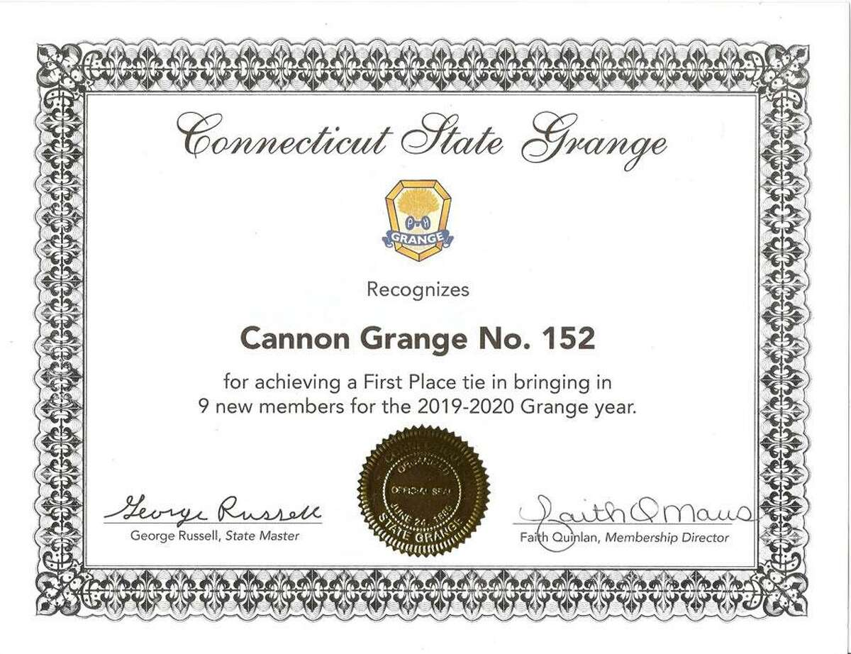 Cannon Grange No. 152 in Wilton was honored by the CT State Grange for bringing in nine new members in 2019-20.