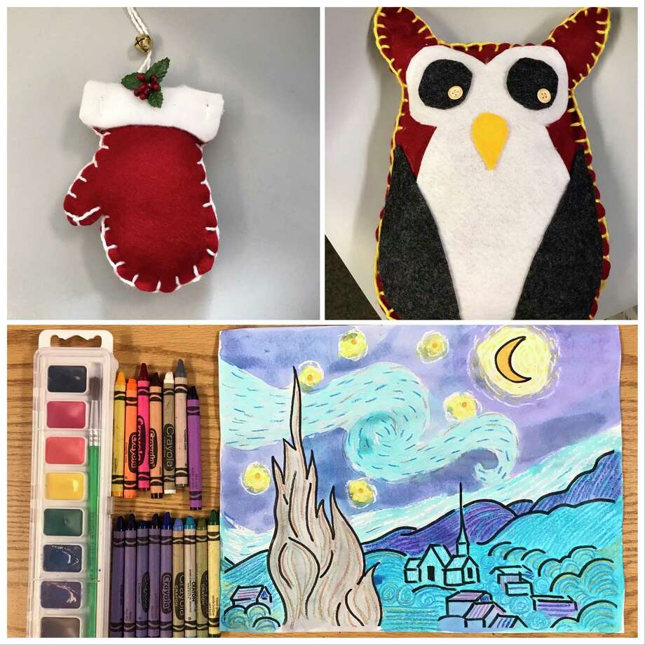 """Creative 360's ArtSpark Kids Kits each feature a different type of art, from painting to fabric arts.Shown here are""""Fun in the Mitten,""""""""It's A Hoot"""" and """"Van Gogh Crazy.""""(Photo provided/Creative 360)"""