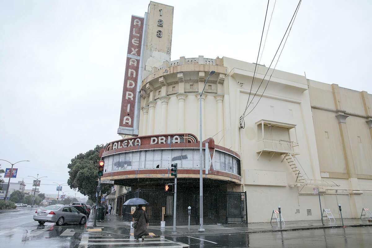 The Alexandria Theater is seen on Geary Blvd. in the Richmond District of San Francisco, California during a steady rainfall. The first significant rainstorm of the season hit the San Francisco Bay Area on Nov. 17, 2020.