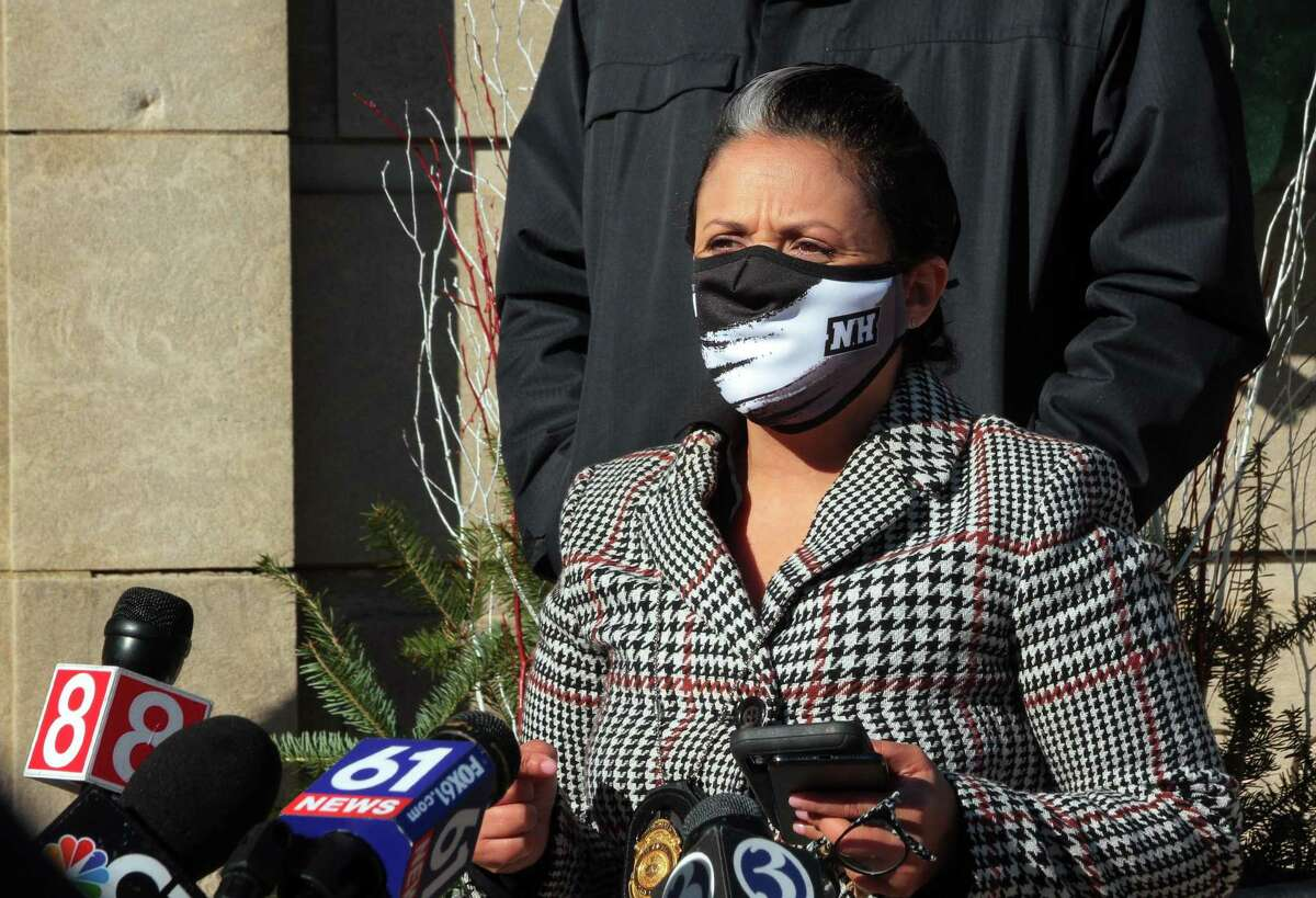New Haven Public Health Director Maritza Bond holds a press conference announcing the enforcement of wearing masks in all city businesses in downtown New Haven, Conn., on Nov. 18, 2020.