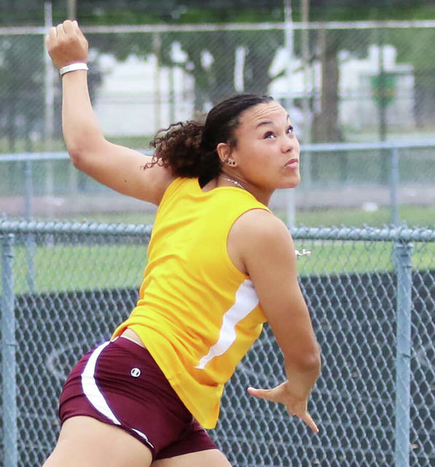 EA-WR's Jayden Ulrich watches her throw in the shot put during the Class 2A sectional girls track and field meet as a sophomore in May 2019 at Springfield. Ulrich, who won that sectional and went on to win a state championship in the shot, is now a senior and Wednesday signed a Division I letter-of-intent with Indiana. Photo: Greg Shashack | The Telegraph