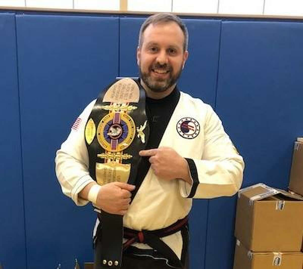 Ron Librandi, a 5th degree black belt, broke 11 of 12 patio blocks and 12 of 14 pieces of wood to win the title.