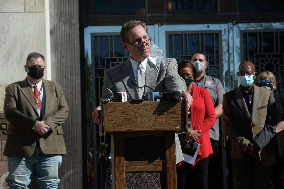 Judge Jeff Branick speaks during a multi-county press conference held by city and county leaders and health officials at Jefferson County Courthouse. Photo taken Wednesday, November 18, 2020 Kim Brent/The Enterprise