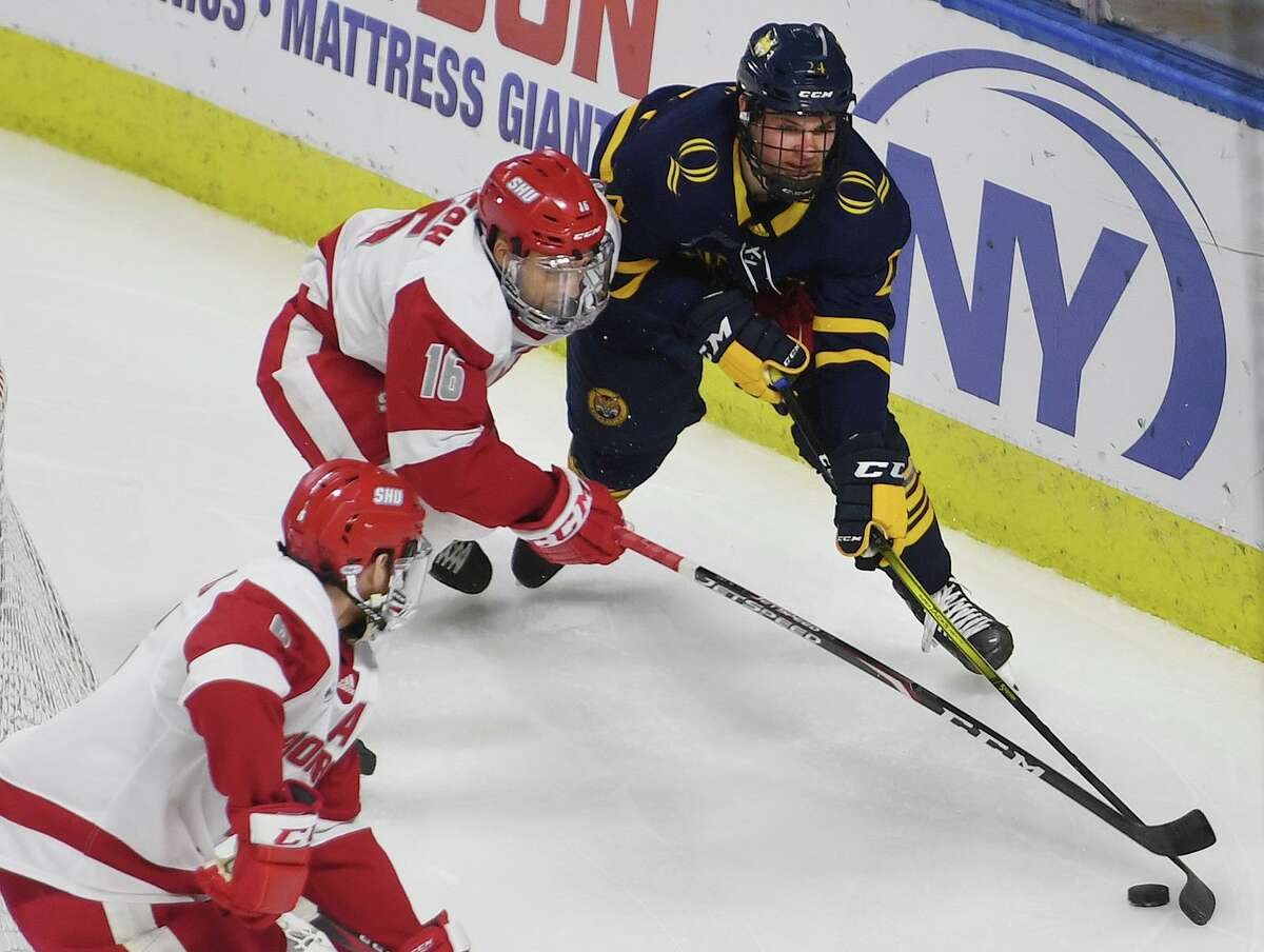 Quinnipiac v. Sacred Heart in the championship game of the Connecticut Ice college hockey tournament at the Webster Bank Arena in Bridgeport, Conn. on Sunday January 26, 2020.