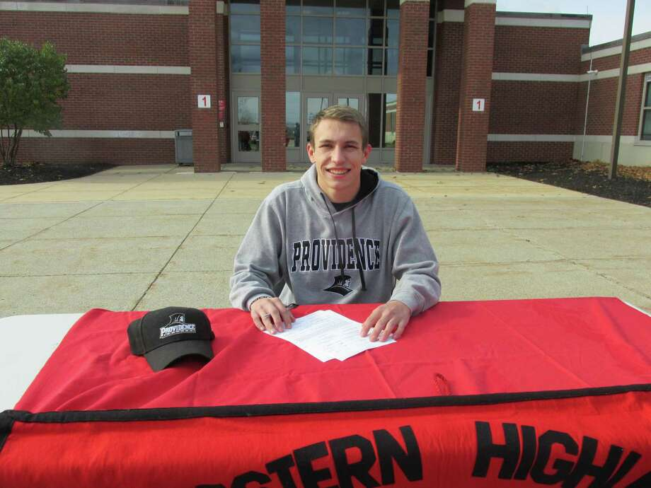 A day after Northwestern High School's Alex Beauchene won the boys race at the Berkshire League Cross Country Championships, he signed a letter of intent to swim for Providence College. Photo: Peter Wallace / For Hearst Connecticut Media