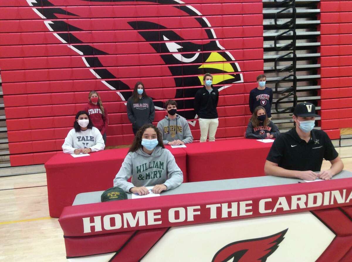 Greenwich High School held a ceremony honoring their Division I college-bound athletes on Wednesday, November 18, 2020. Front row, from left to right: Delaney Roth (will play lacrosse at William & Mary), Miles Langhorne (baseball at Vanderbilt). Second row, left to right: Olivia Schnur (crew, Yale), Thomas Cass, (water polo, University of California Irvine), Mari Noble, (Princeton University, track and field). Back row, left to right: Meghan Lynch, (Stanford, swimming), Lilly Saleeby, (Colgate, volleyball), Alex Plavoukos (Loyola, swimming), Nick Malchow (University of Pennsylvania, swimming).