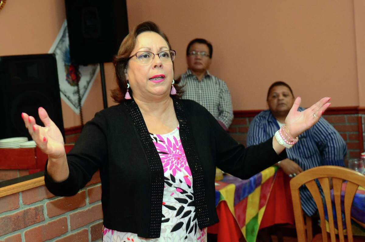Alma L. Maya speaks at a fundraiser in Bridgeport in 2019. Maya, a long-time Democratic activist, said she and her family, including her 87-year-old mother, were all recently diagnosed with COVID-19.