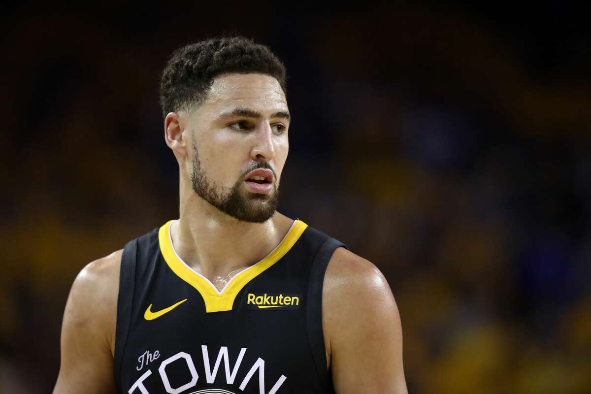 Klay Thompson of the Golden State Warriors reacts against the Toronto Raptors in the first half during Game Six of the 2019 NBA Finals at ORACLE Arena on June 13, 2019, in Oakland, Calif.