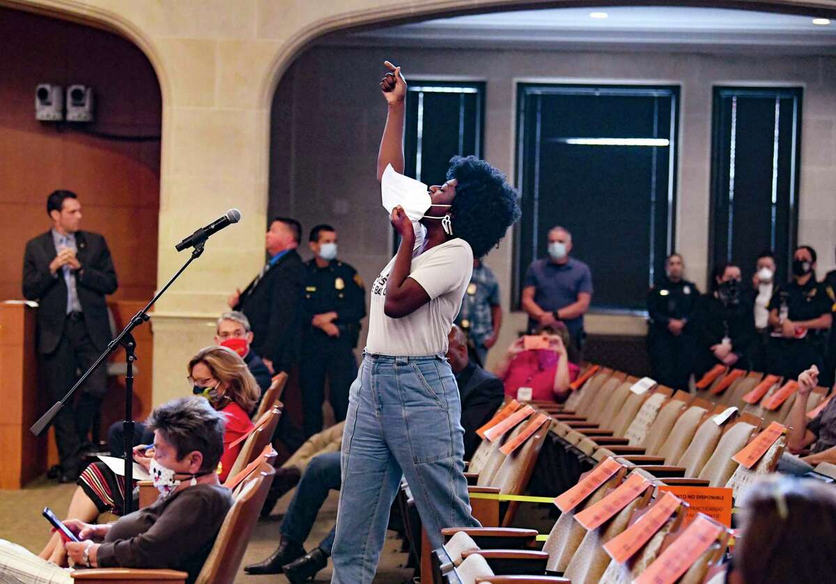 Ojiyona Martin tells the San Antonio City Council Public Safety Committee that the police union wields too much power during a meeting on Thursday, June 18, 2020.