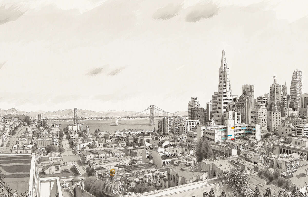 """""""Spirits of San Francisco"""" is a new history book written by Gary Kamiya, with illustrations by Paul Madonna."""