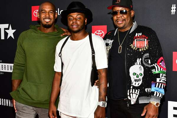 """FILE - NOVEMBER 18: Bobby Brown Jr., musician Bobby Brown's 28-year-old son, was found dead at his home in Los Angeles on November 18. HOLLYWOOD, CA - AUGUST 29: (L-R) Landon Brown, Bobby Brown Jr., and Bobby Brown arrive at the premiere screening of """"The Bobby Brown Story"""" at Paramount Theatre on August 29, 2018 in Hollywood, California. (Photo by Rodin Eckenroth/Getty Images)"""