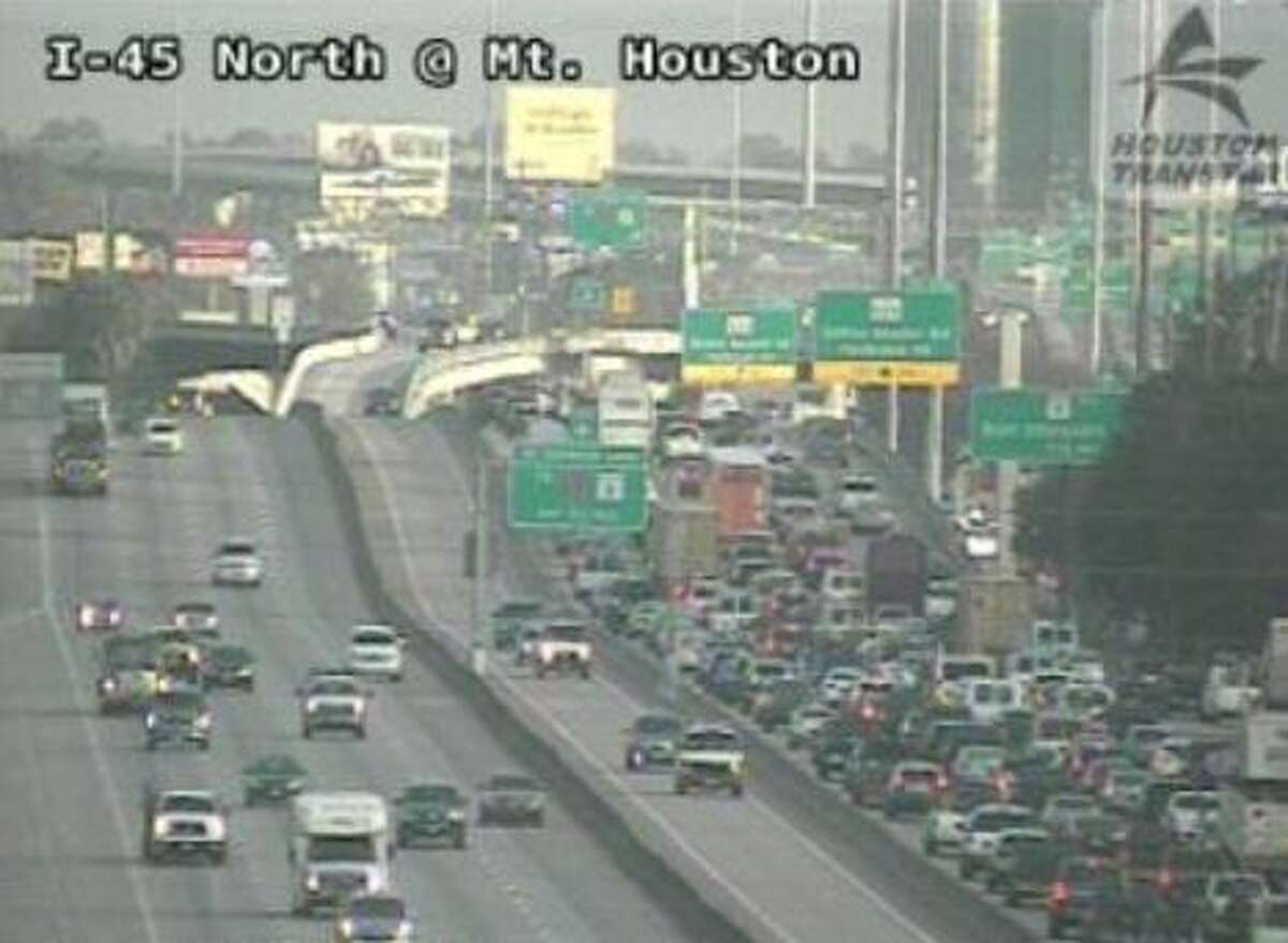 Traffic on the North Freeway at West Road is at a crawl after a two-car fatal crash on Thursday, Nov. 19, 2020.