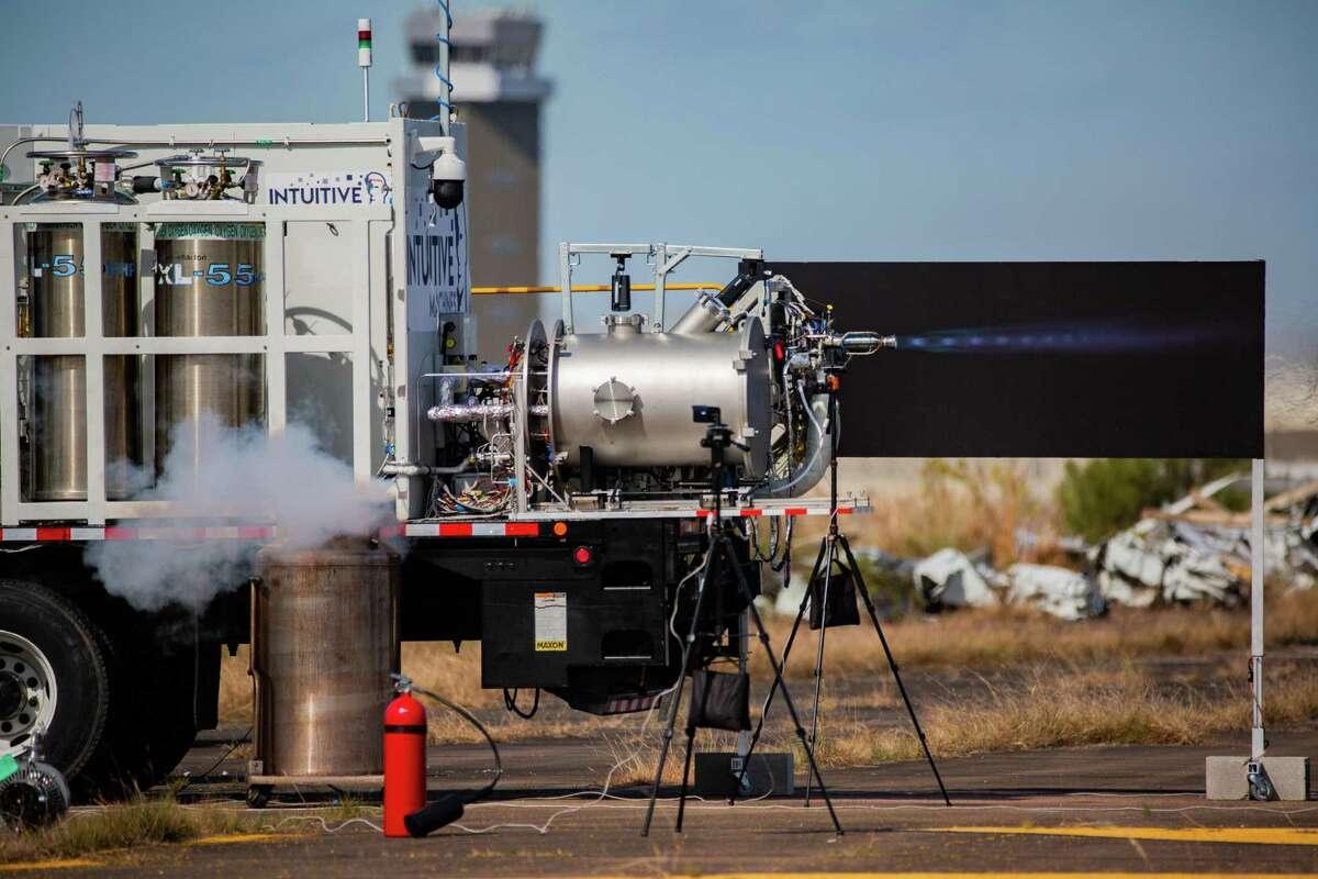 Houston-based Intuitive Machines tests the engine for its Nova-C lunar lander at Ellington Airport, Thursday, Nov. 5, 2020, in Houston.