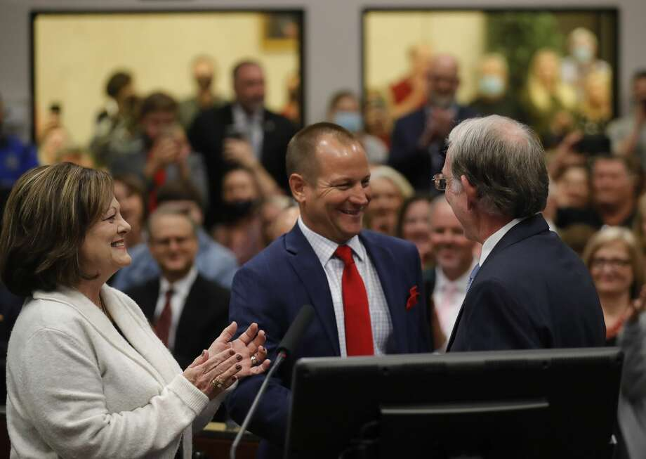 Jody Czajkoski is sworn in as mayor of Conroe during a ceremony at Conroe Tower, Tuesday, Nov. 17, 2020, in Conroe. Photo: Jason Fochtman/Staff Photographer / 2020 © Houston Chronicle