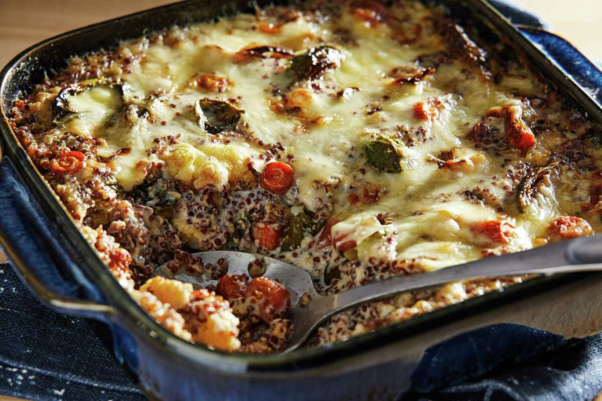 Quinoa and Roasted Vegetable Bake With Gruyere.