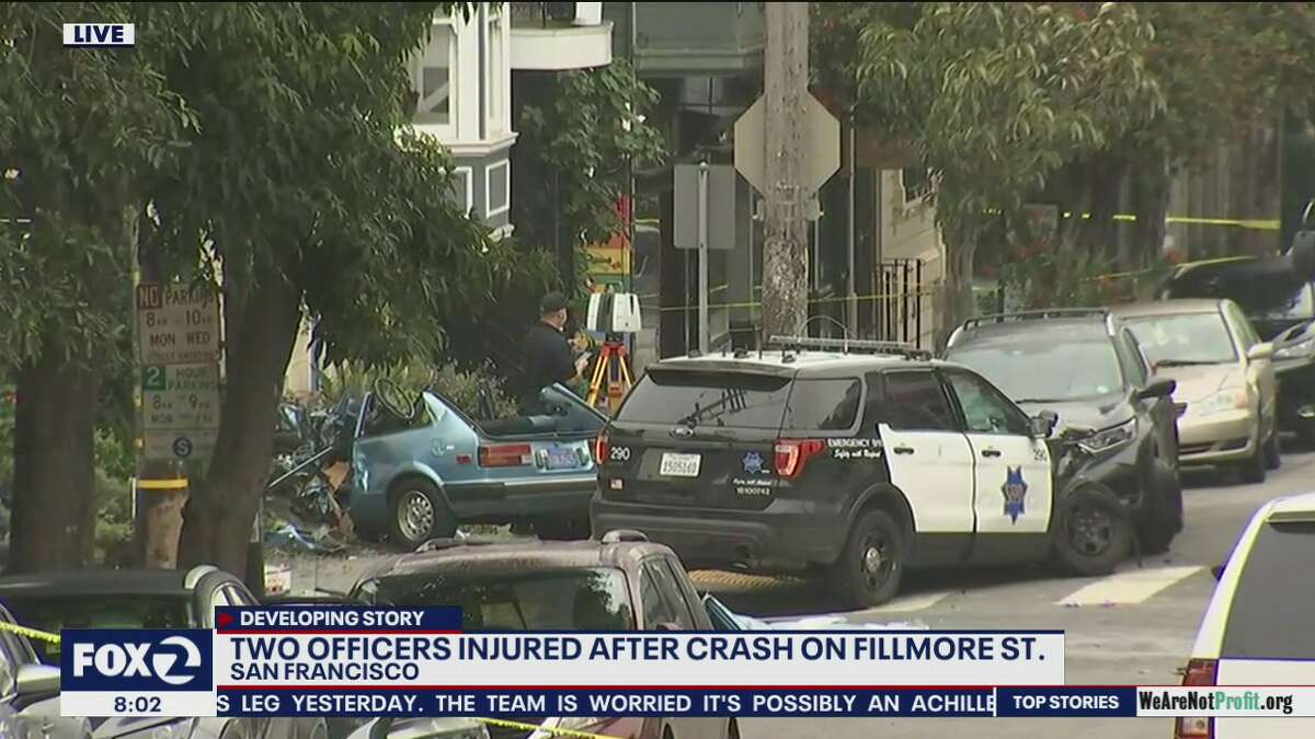 A car crashed into a home on Fillmore Street in San Francisco on Nov. 19, 2020.
