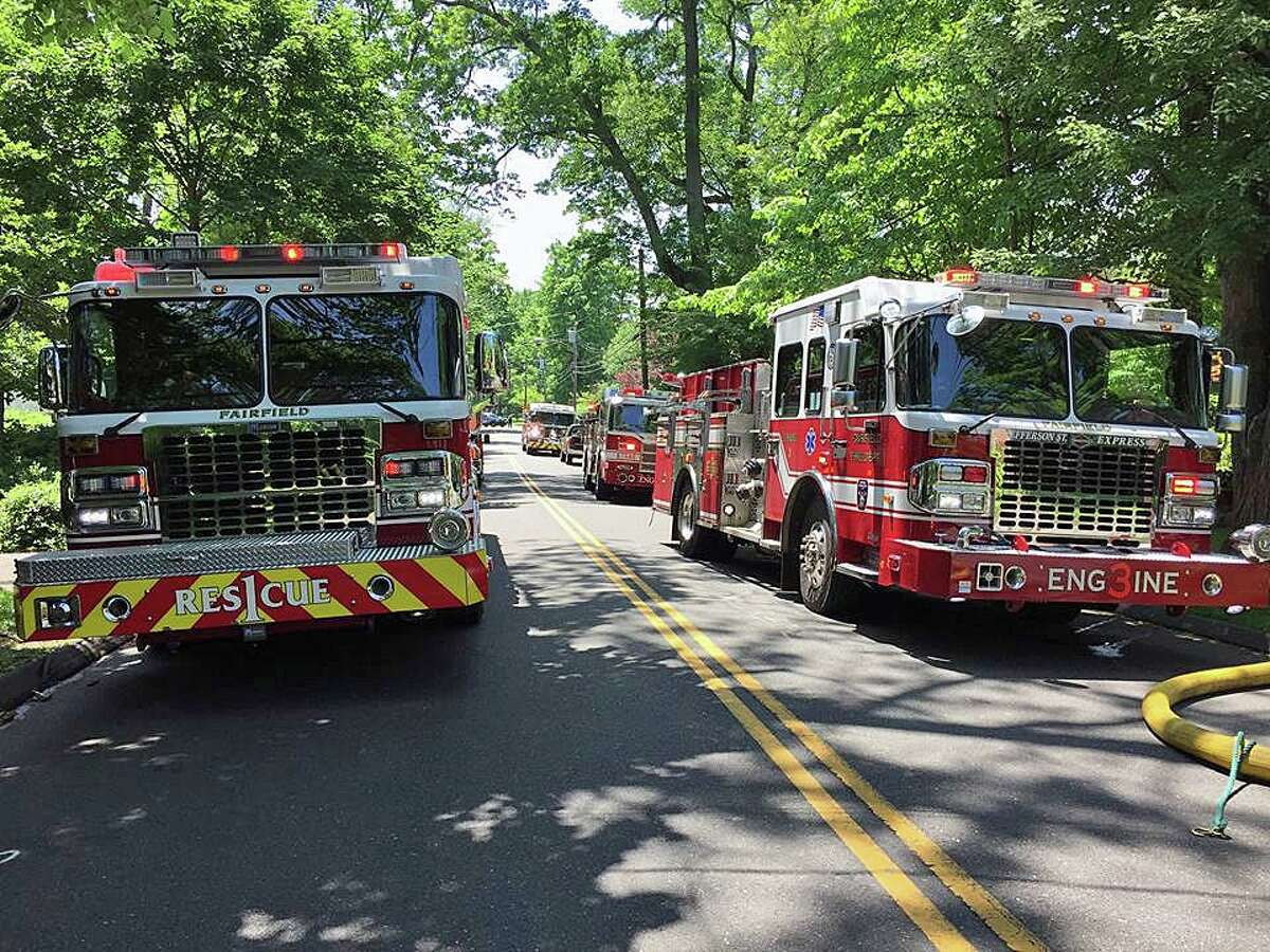 A file photo of Fairfield fire engines. A member assigned to Engine 3 on Wednesday, Nov. 18, 2020, was briefly trapped while battling a fire on Bloomfield Drive in Fairfield, Conn.