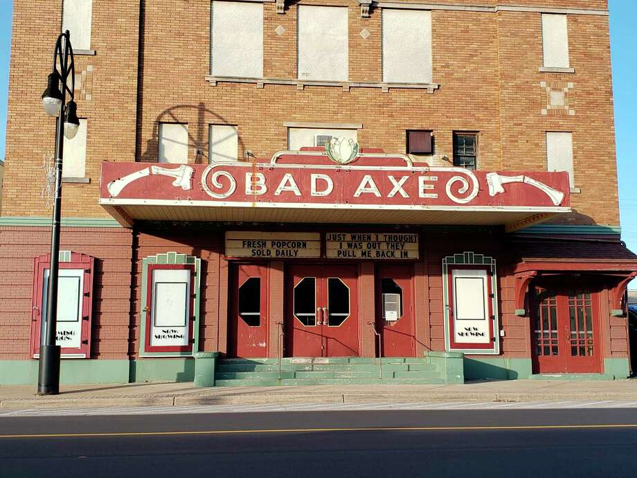 The Bad Axe Theatre marquee, with a quote from The Godfather Part 3. This theater along with others in Huron County, have to close for three weeks due to the governor's latest executive orders trying to curb the spread of coronavirus. (Robert Creenan/Huron Daily Tribune)
