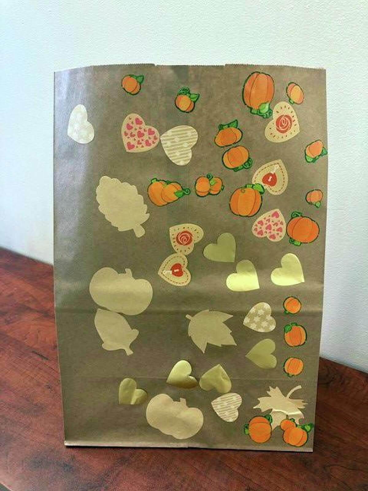 One of the bags made by the children at Temple Israel that will go alongside delivered meals this Thanksgiving.