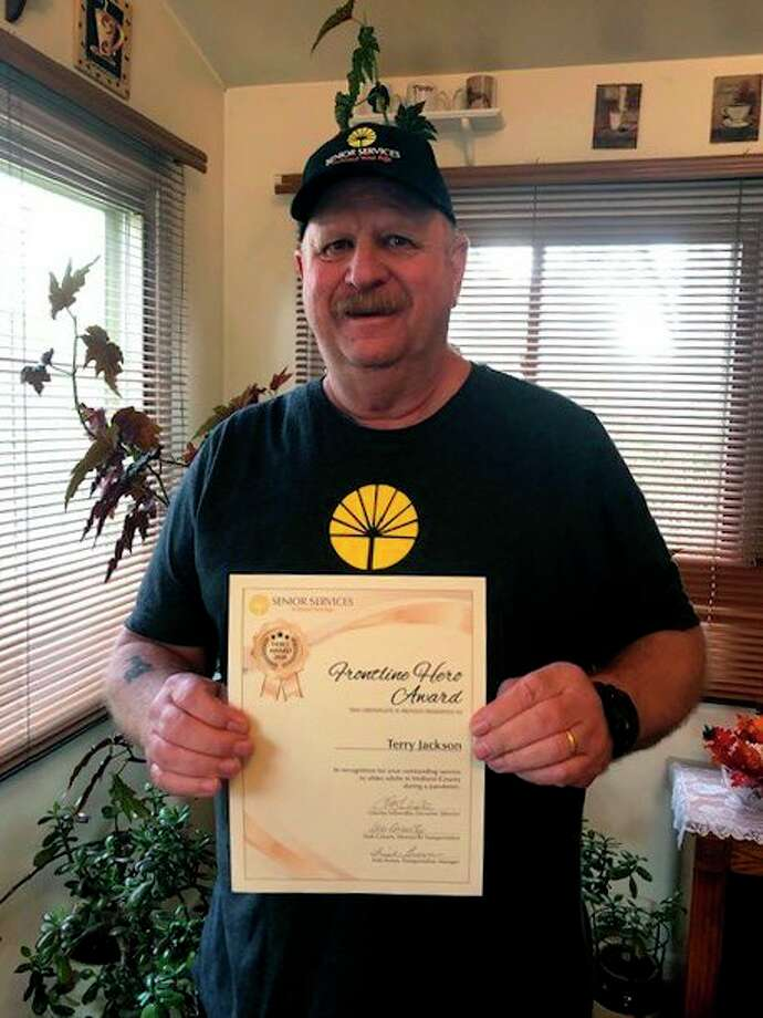 Senior Services recently presented Terry Jackson with a Frontline Hero Award. (Photo provided/Senior Services)
