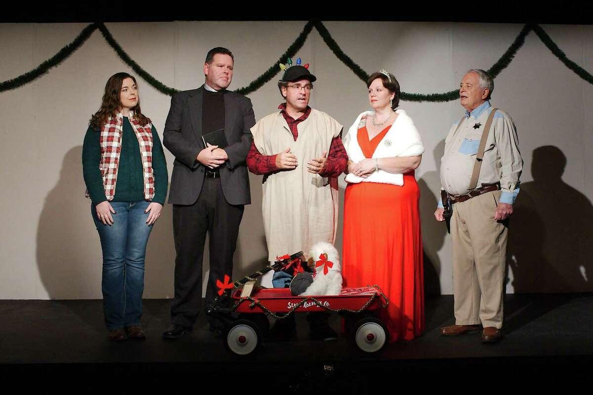 "Cast members of Pasadena Little Theatre's comedy ""Christmas Belles"" include Brianna Thoutt, left, Robert Wise, Jeffrey Merriman, Renea Runnels and Bruce Blifford."