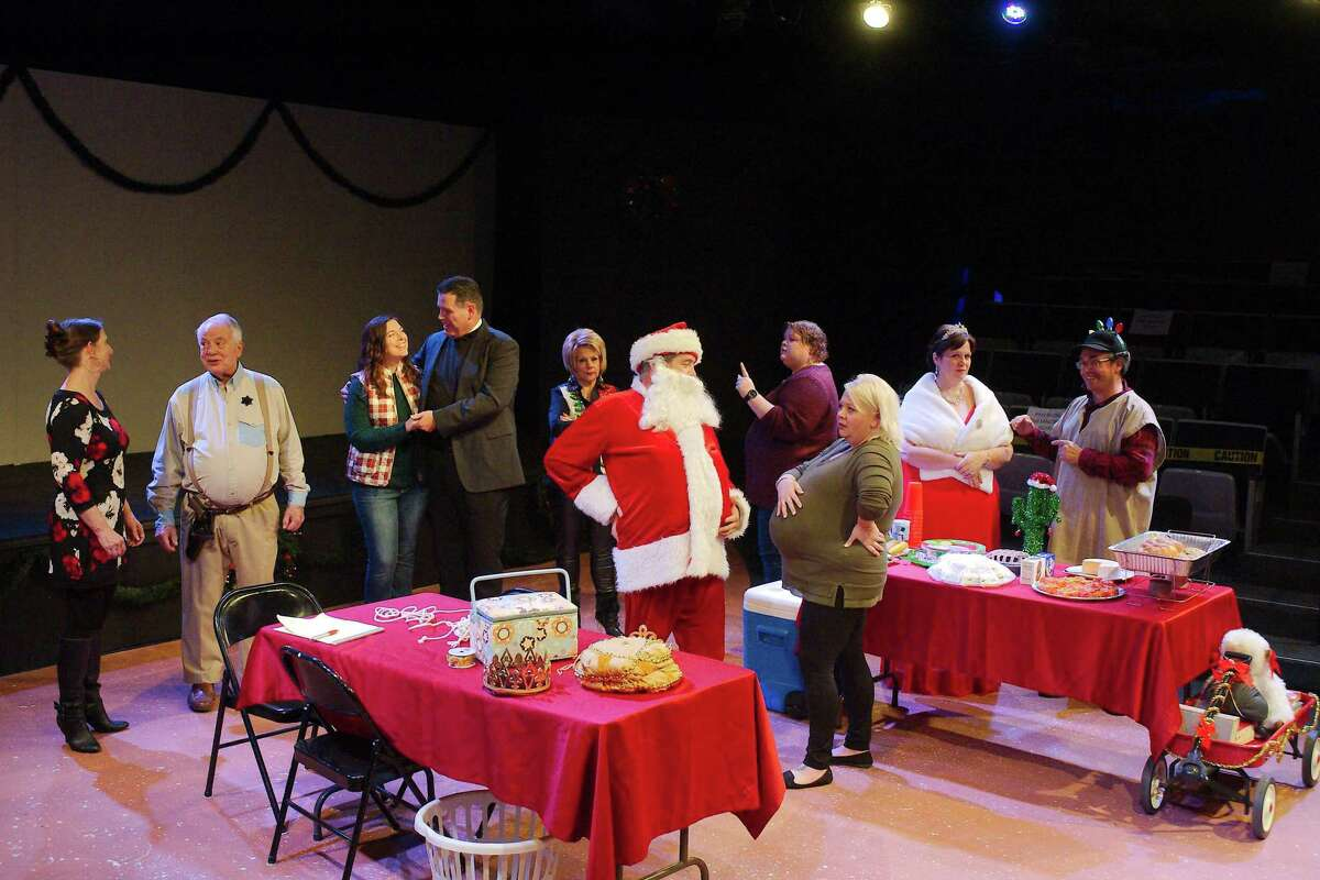 """Pasadena Little Theatre's production of """"Christmas Belles"""" features Billy Chmielewski and Cassie Wright, front, and back from left, Connie Musler, Bruce Blifford, Brianna Thoutt, Robert Wise, Judy Ahlhorn, Vanessa Pearson, Renea Runnels and Jeffrey Merriman."""